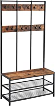 VASAGLE Large Coat Rack Stand, Coat Tree with 12 Hooks and Shoe Bench in Industrial Design, Hall Tree, Multifunctional Hal...