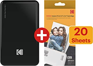 KODAK Mini 2 HD Wireless Portable Mobile Instant Photo Printer Compatible w/iOS & Android Devices (Black) w/ 20 Pack Paper and Color Ink Cartridge Refill