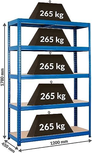 Rayonnage pour charges lourdes – Solide - Charge max. par étagère: 265 kg -