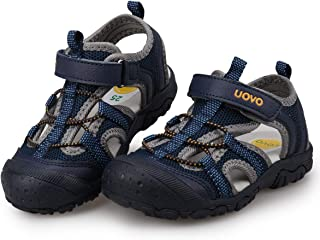 UOVO Boys Sandals Kids Hiking Sandals Closed Toe Beach Sandals Athletic Sport Sandals (Toddler/Little Boys)