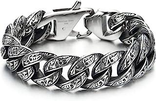 COOLSTEELANDBEYOND Annata Barbozzale Braccialetto con Tribal Tatuaggio Modello, Bracciale da Uomo, Acciaio, Stile retrò