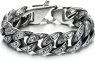 COOLSTEELANDBEYOND Mens Boys Stainless Steel Vintage Fancy Curb Chain Bracelet with Tribal Tattoo Pattern, Retro Style