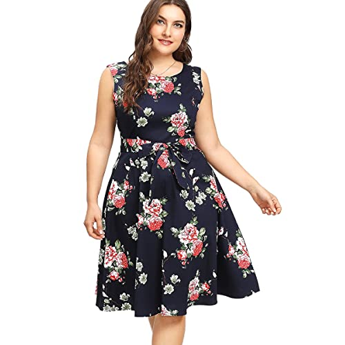 e7a4a092f23 Romwe Women s Plus Size Floral Print Buttons Short Sleeve V Neck Flare  Flowy Maxi Dress