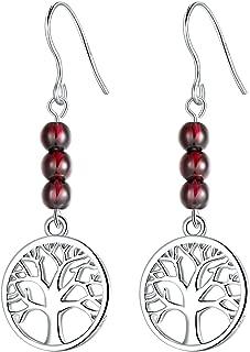Mujeres Pendientes largos Árbol de la Vida, Niñas Pendientes plata 925 Granate Natural 4 mm