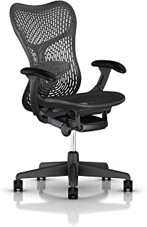 Herman Miller Mirra 2 Ergonomic Office Chair with Standard Tilt and Fixed TriFlex Back Support | Fixed Seat Depth and Arms with Hard Floor Casters | Graphite Seat and Back