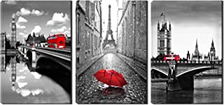 nande art Paris Eiffel Tower Wall Decor - Gray and Red Umbrella Canvas Artwork - London Bridge with Red Bus Picture Painting for Living Room Bedroom Office 3 Panel