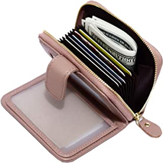 ANBENEED Genuine Leather Small Snap ID Wallets Zipper Credit Card Holder For Women Ladies Girls