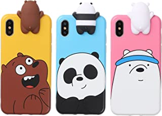 Aikeduo for 3D Cartoon Animals Cute We Bare Bears Soft Silicone Case Cover Skin 3pcs Sell for iPhone6/ 6s/6s Plus iPhone7 /7plus case (iPhone X/XS)