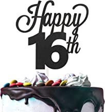 Happy 16th Birthday Black Glitter Cardstock Paper Cake Topper Cheers to 16 Years Old Bday Party Gift Photo Booth Sign Decoration - Premium Double Sided