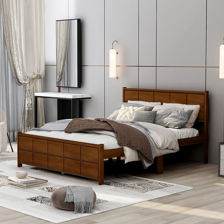 Atlanta Mall Lazyspace Platform Bed Frame with Rectangular Weekly update Headboa Shape Line