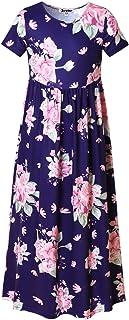 Jxstar Flower Maxi Dresses for Girls Summer Floral Long Dress with Pockets