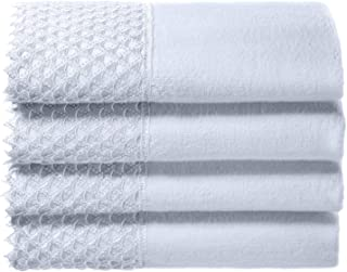 Creative Scents Cotton Velour Fingertip Towels, 4 Piece Set, 11 by 18-Inch, Decorative Towel Set with White Lace for Bathroom, Powder Room, Gift Packaged (White)