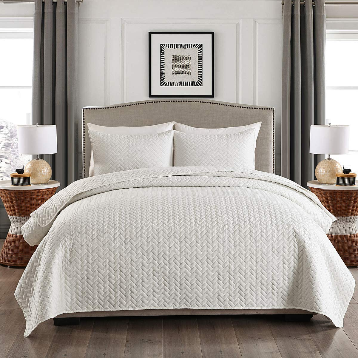 MERRYHOME King Quilt Set, 3-Piece Solid Lightweight Quilt Cover Bedding Set with Pillow Shams