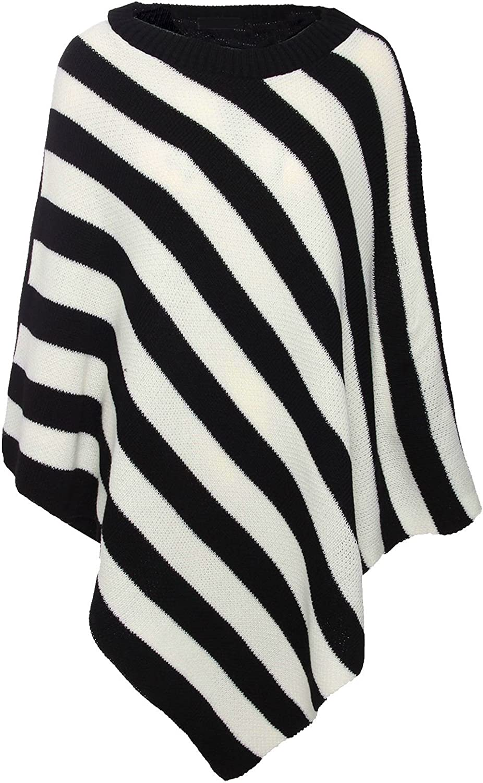 Rimi Hanger Womens Knitted Striped Poncho Ladies Striped Crew Neck Wrap Cape Shawl Poncho