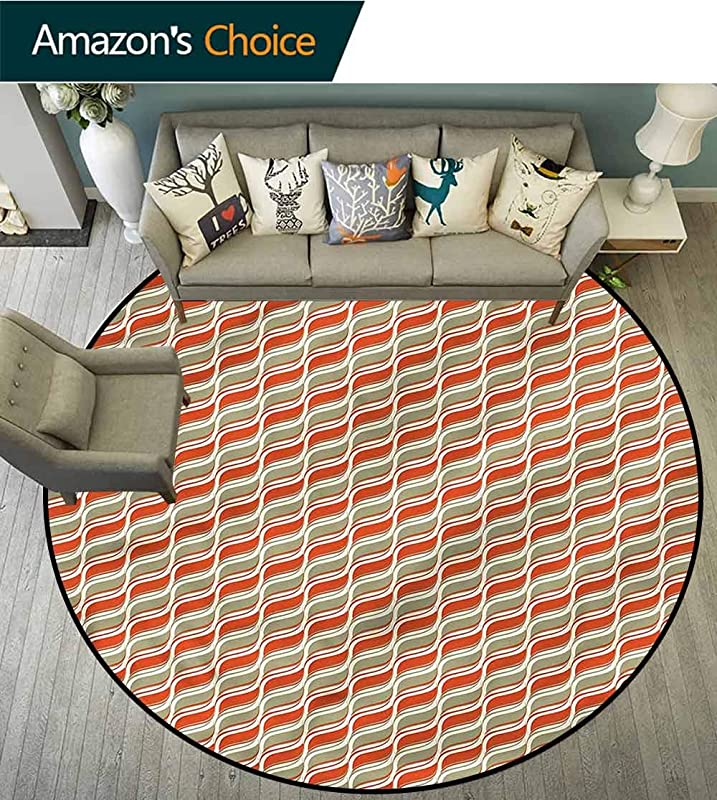 RUGSMAT Geometric Non Slip Round Rugs Abstract Lines Stripe Carpet Door Pad For Bedroom Living Room Balcony Kitchen Mat Diameter 59