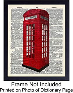 Upcycled Dictionary Wall Art Print - Vintage 8x10 Unframed Photo - Perfect Easy Gift - Chic Home Decor - Red British Phone Booth