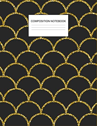 Composition Notebook: Beautiful Black & Gold Waves Mermaid Scales College Ruled Composition Notebook for Kids, Teens, Students, Adults & Teachers, Office Large Journal