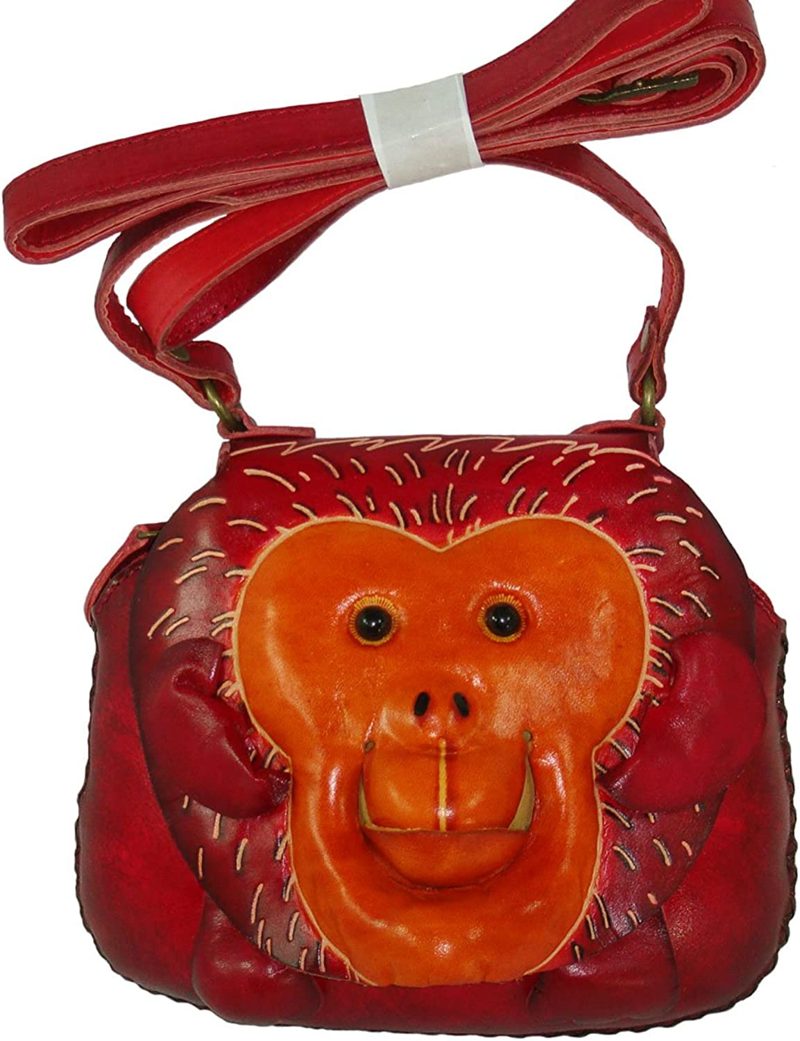 Genuine Leather Shoulder crossbody Bag, Red Monkey Pattern,a Unique Small Satchel.