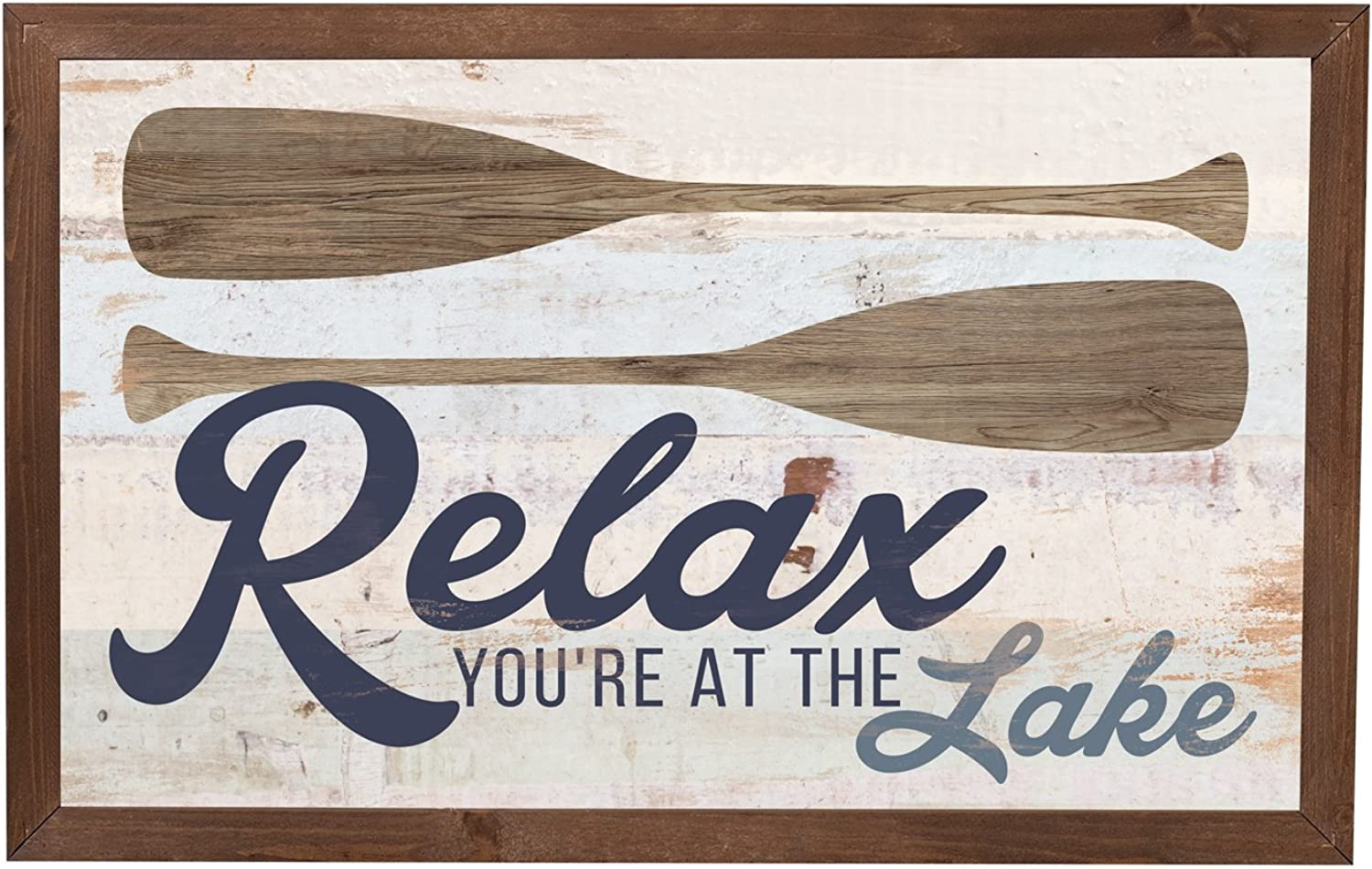 P. Graham Dunn Relax You're at The Lake Paddles 18 x 11 Inch Solid Pine Wood Farmhouse Frame Wall Plaque