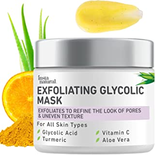 InstaNatural Exfoliating Glycolic Face Mask & Facial Scrub - Blackhead Treatment for Brightening and Exfoliation with Turm...