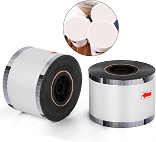 Happybuy 2 Rolls Cup Sealer Film PP Material Cup Sealing Film 4000 Pcs Per roll Bubble Tea Sealing Film for Diameter 95-105mm PP and Paper Cups