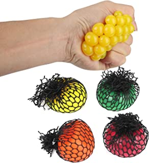 Besmon 12pcs Mesh Squishy Ball, Rubber Stress Relief Squeezing Soft Rubber Vent Grape Ball, Slime Stress Ball, Anti Stress Toys(Yellow, Orange, Purple and Green)