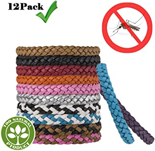 Everwell Mosquito Repellent leather Bracelet, Insect Protection for adults and children, Wrist Bands for Kids, Babies, Men and Women 12 colours in a pack
