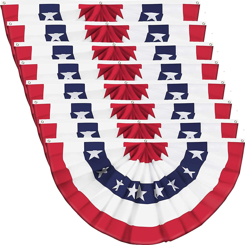 8 PCS USA Pleated Fan Flag 注目ブランド US 1.5x3 マーケティング Feet Flags Bunting American
