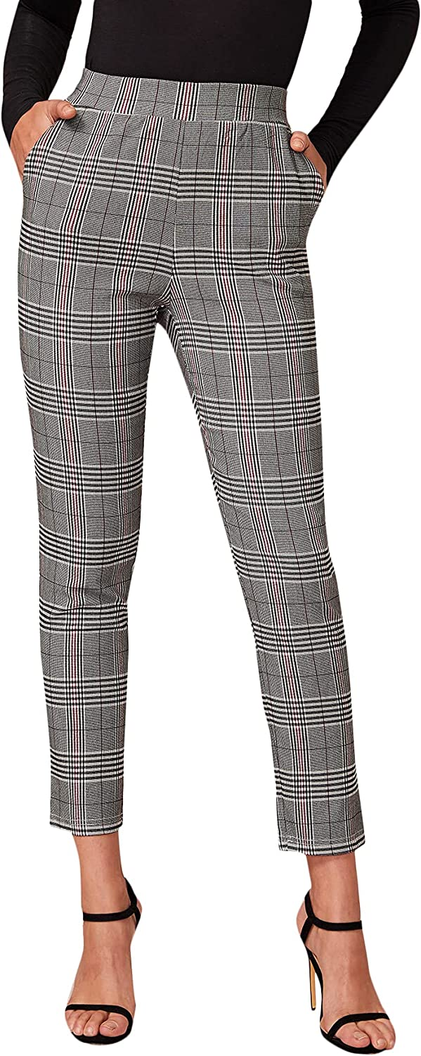 Milumia Women Elegant Plaid High Waisted Pants Work Office Skinny Trousers with Pocket