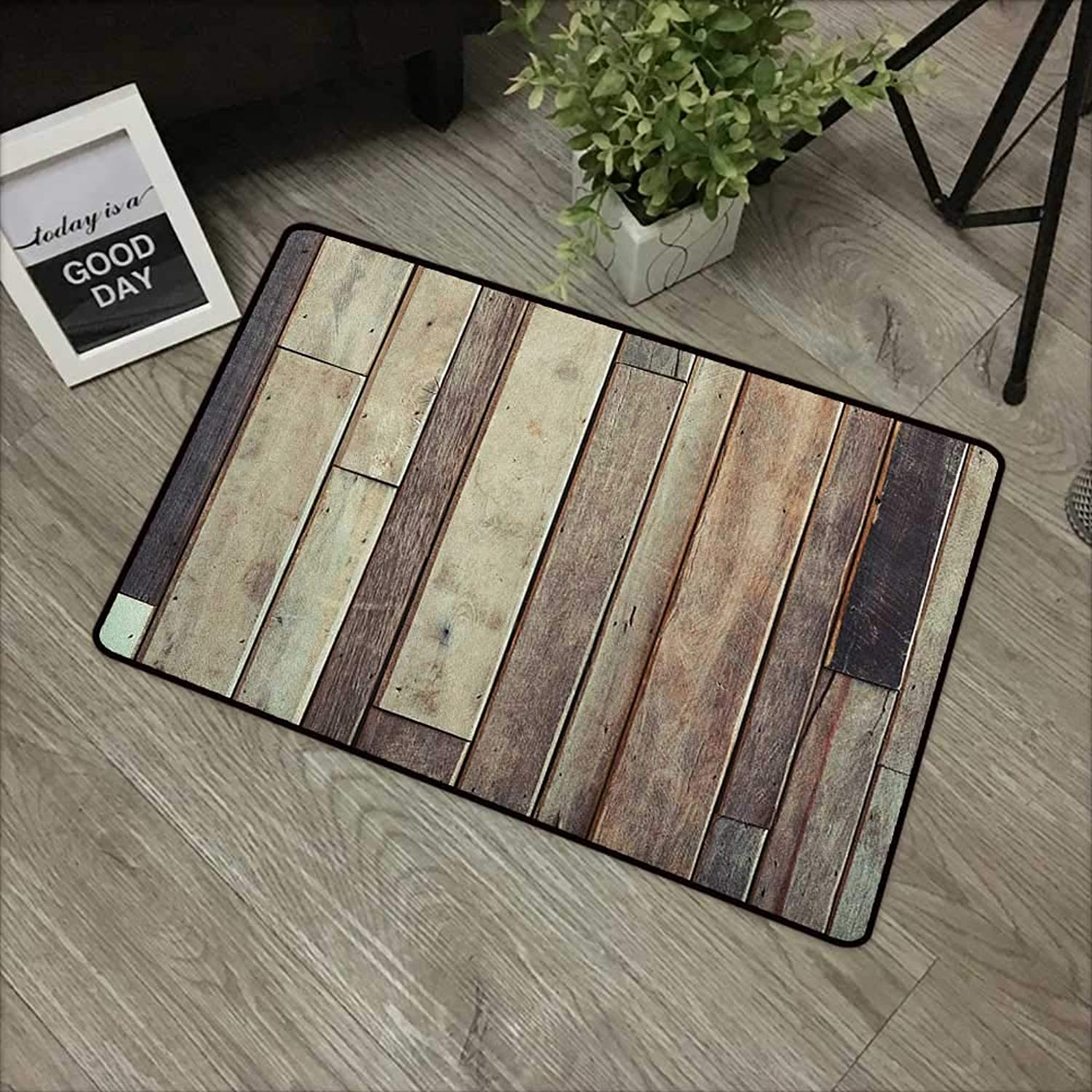 Door mat W35 x L59 INCH Wooden,Antique Planks Flooring Wall Picture American Style Western Rustic Panel Graphic Print, Brown with Non-Slip Backing Door Mat Carpet