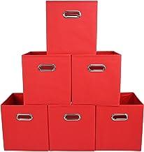 EST Storage and Organization, Foldable Fabric Storage Cubes Organizer with Metal Handles, Storage Basket Bins, Clothes Box...
