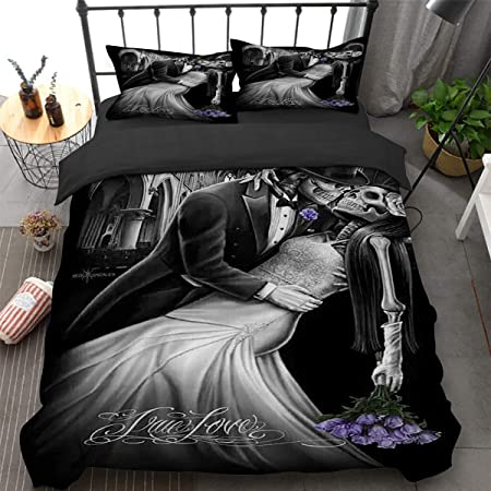 Ride or Die Skull Bedding Set for Adults,3D Printed Skull Riding with Girls Duvet Cover with 2 Pillowcases,Black Gothic Microfibe Comforter Cover Queen Size 90 x 90 Not Comforter