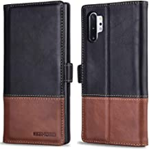 KEZiHOME Samsung Galaxy Note 10+ Plus Case, Genuine Leather Note 10 Plus 5G Wallet Case RFID Blocking Credit Card Slot Flip Magnetic Stand Case Compatible with Galaxy Note 10Plus (Black/Brown)