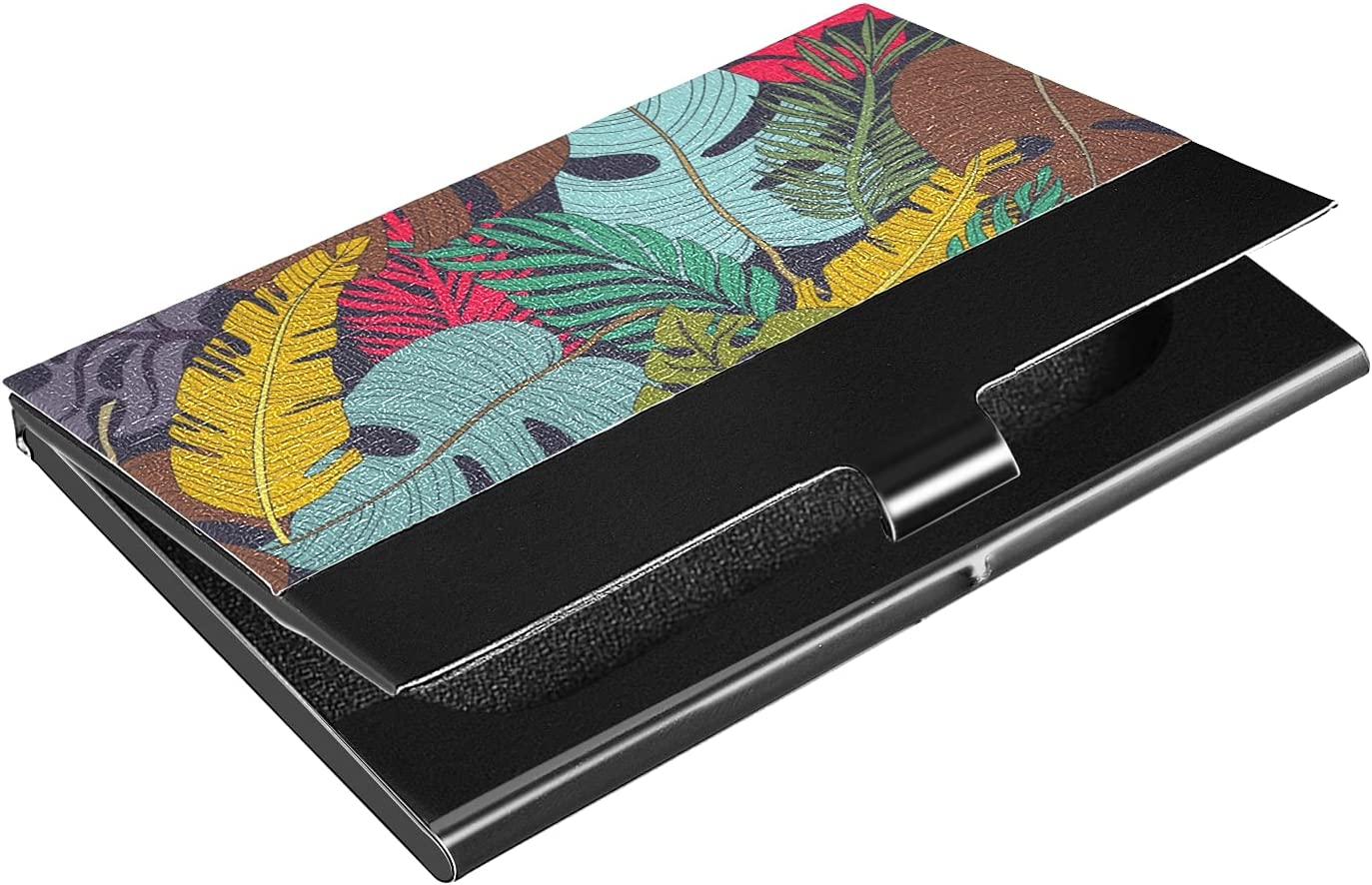 OTVEE Palm Leaves Business Card Holder Wallet Stainless Steel & Leather Pocket Business Card Case Organizer Slim Name Card ID Card Holders Credit Card Wallet Carrier Purse for Women Men