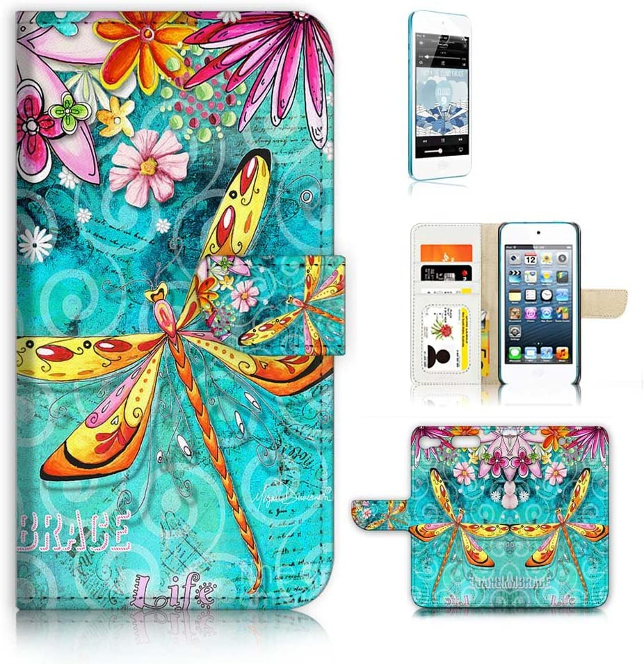 (for iPod Touch 5 6 7) Flip Wallet Case Cover & Screen Protector Bundle - A21095 Dragonfly