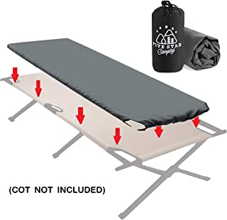Cot Sheet for Camping Cots. Great Camping Accessory Fitted Cot Sheet That Suits Most Army Cots, Military Cots, Travel Cots and Folding Cots. Keeps Your Sleeping Pad Secure!