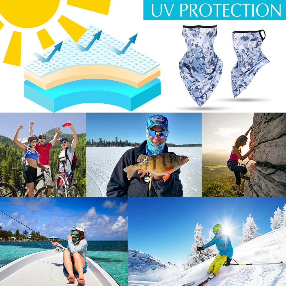 Echolife 5 Pack UV Protection Face Cover Bandanas with Ear Loops Seamless Neck Gaiters Headbands Headwears for Dust Wind Outdoor Sports Activities