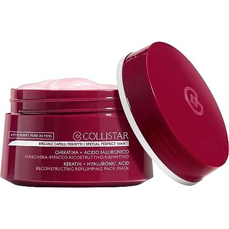 Collistar Maschera-impacco capelli ricostruttivo riempitivo, trattamento 2 in 1 alla cheratina, da usare come maschera post shampoo e impacco pre-shampoo, per capelli danneggiati e sfibrati, 200 ml