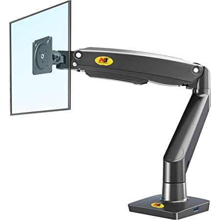 NB North Bayou Monitor Arm Desk Mount Ultra Wide Full Motion Swivel Long Arm with Gas Spring for 22''-35''Monitors from 6.6 to 26.4lbs Height Adjustable Monitor Mount Stand F100A-B