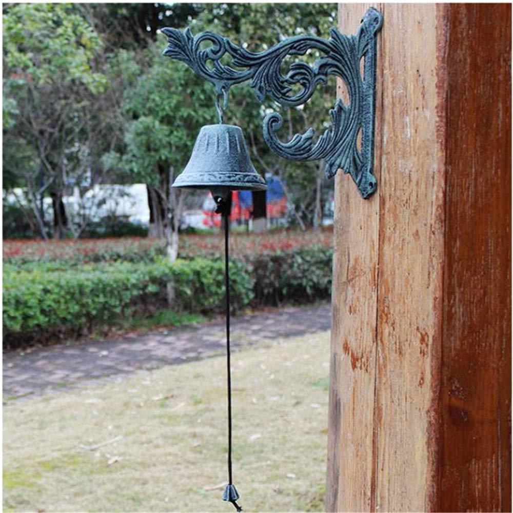 Campana de jardín Tradicional Retro Hierro Fundido Rama de Metal Rústico Montaje en Pared Puerta Llamada Campana Estilo de casa de campo Creativa Timbre for Patio Decoración de la granja Hierro fundid: