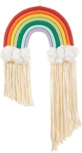 YUGUMOO Large Long Rainbow Wall Hanging,Colorful Handmade Rope Woven Tassel Wall Art for Nursery Kids Room,Suitable for Festival Ornaments Toddler Gifts( 21.60 x 11.80x 1.20 in