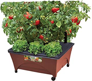 Earth Brown Resin Raised Garden Bed Grow Box Kit with Self Watering System and Casters Patio and Deck Gardening