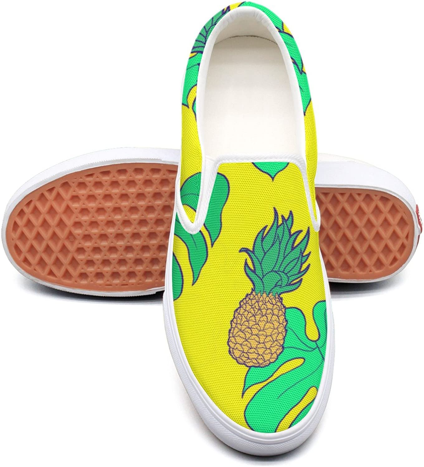 SEERTED Yellow Beach Pineapple and Palm Leaves Slip On Canvas shoes for Women Wide