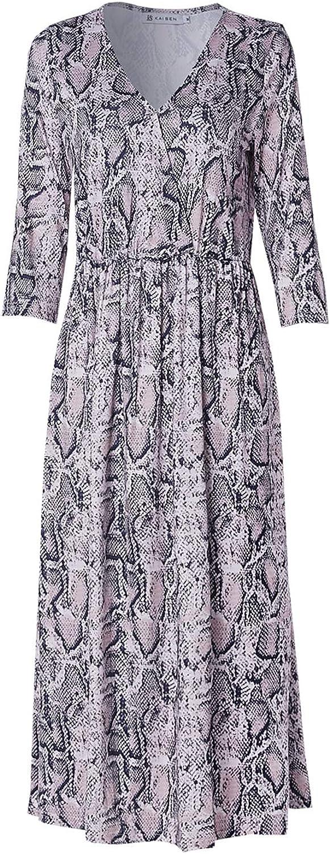 KAIsen Womens Midi Dress Print Snake Veins V Neck 3 4 Sleeve Party Dresses