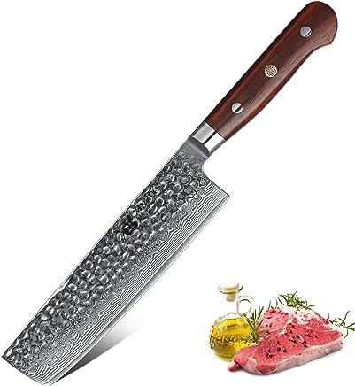 816451fea XINZUO Cuchillo de Nakiri Cocina 18cm de Acero Damasco Japonés 67 Capas  Profesional Cuchillo de Chef