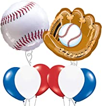 Custom, Fun & Cool 8 Pack of Helium & Air Inflatable Mylar/Latex Balloons w/ Athletic Sports Baseball & Baseball Glove Birthday Design [Variety Assorted Multicolor in Red, White, Blue. Black & Brown]