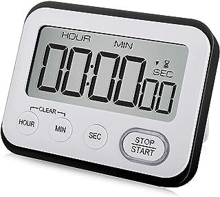 WUTL Digital Kitchen Timer Magnetic Loud Alarm Clock, Large LCD Screen Silent/Beeping Multi-Function for Teachers Kids, Black