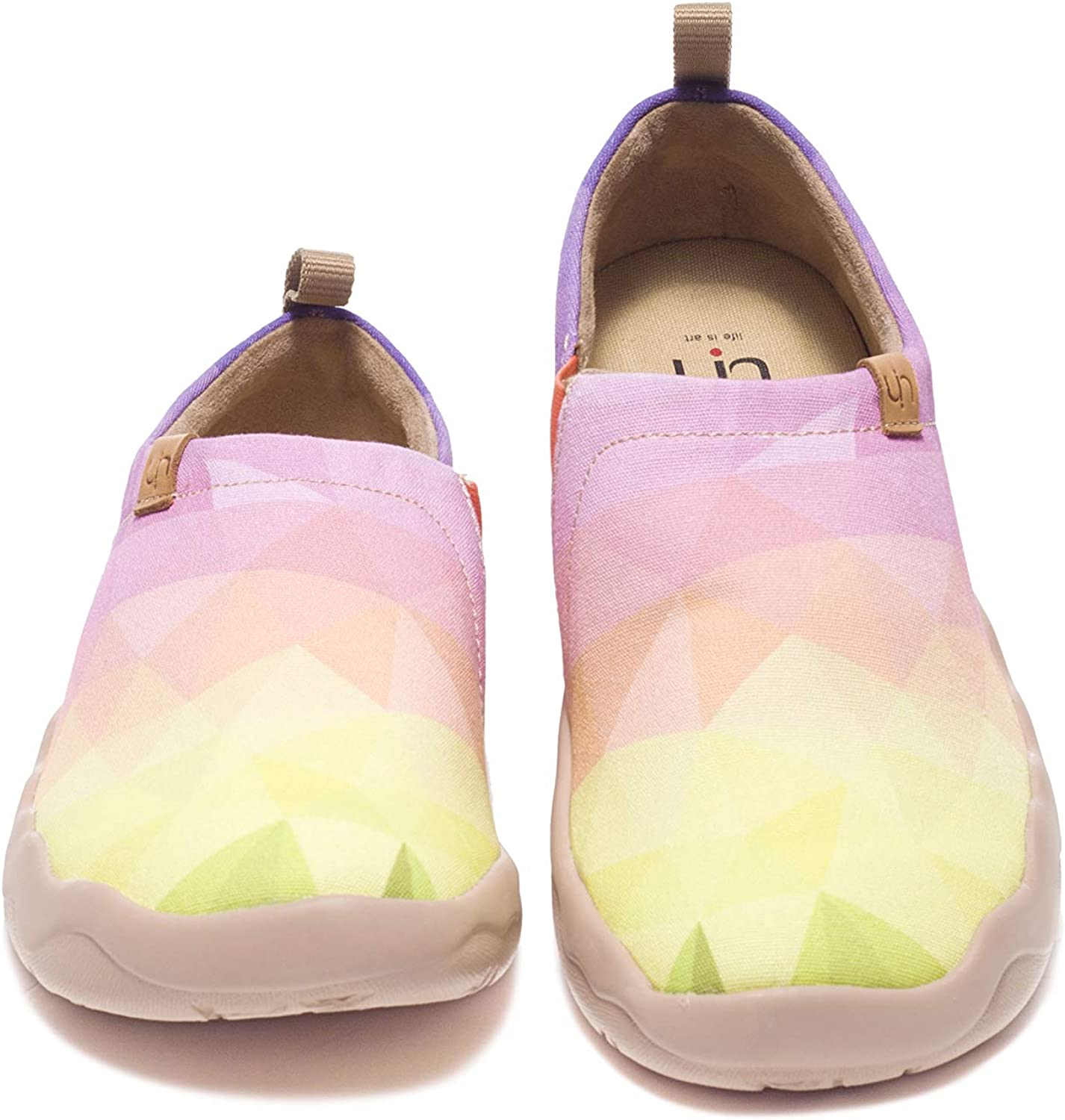UIN Women's Sunshine Printed Canvas Loafer shoes Light Yellow