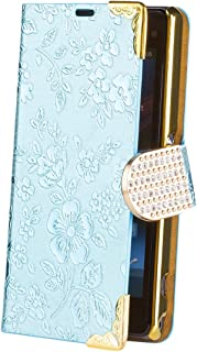 iCues | Compatible with Sony Xperia Z1 Compact | Chrome Flower Wallet Light Blue | [Screen Protector Included] Floral Folio Flip Case Crystal Diamond Rhinestone Bling Glitter Women Girl