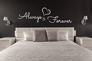 456Yedda Always and Forever Wall Sticker Quote Removable Home Decor Love Decal Romantic Over Bed Decor Above Bed Art Love Heart Sticker